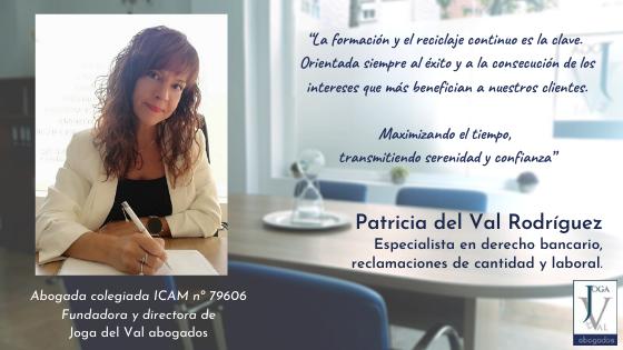 Conócenos. Patricia del Val, fundadora y directora de Joga del Val abogados.